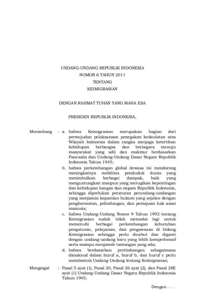 UNDANG-UNDANG REPUBLIK INDONESIA                       NOMOR 6 TAHUN 2011                              TENTANG            ...
