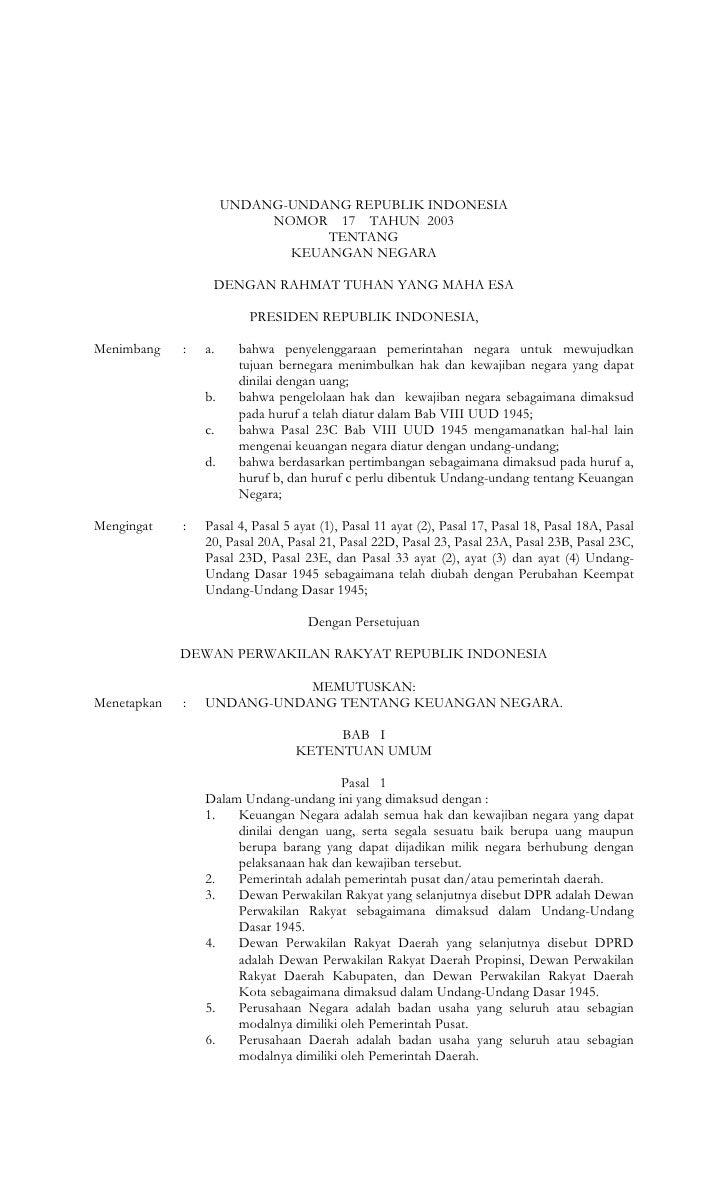 UNDANG-UNDANG REPUBLIK INDONESIA                           NOMOR 17 TAHUN 2003                                 TENTANG    ...