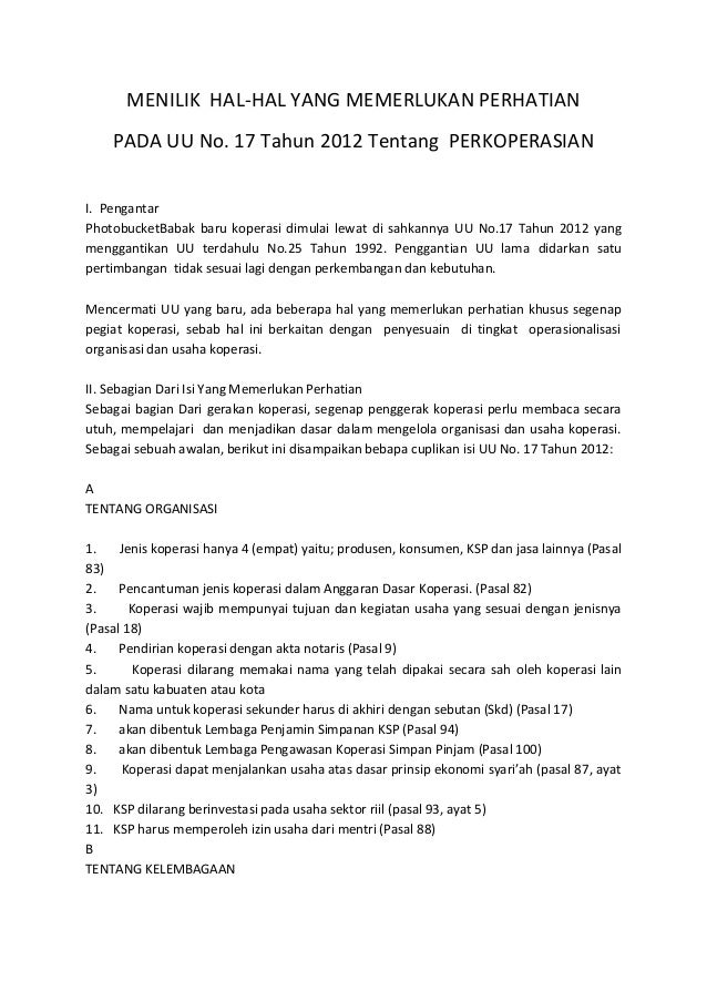 MENILIK HAL-HAL YANG MEMERLUKAN PERHATIAN PADA UU No. 17 Tahun 2012 Tentang PERKOPERASIAN I. Pengantar PhotobucketBabak ba...