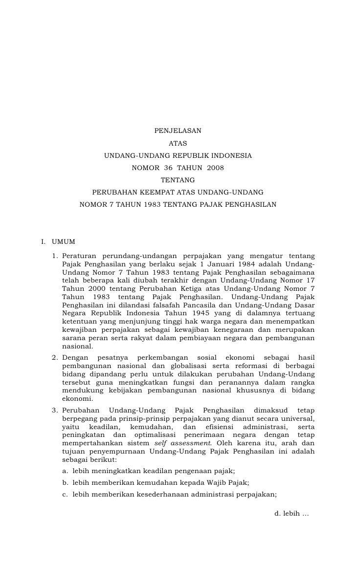 UU No. 36  th 2008  Pajak Penghasilan -  Penjelasan