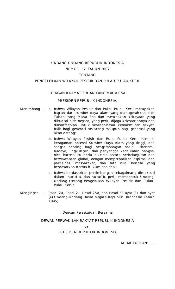Undang-undang No. 27 Tahun 2007 tentang Pengelolaan Wilayah Pesisir dan Pulau-pulau Kecil