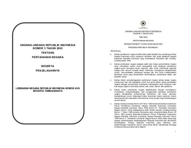 UU No. 3 Tahun 2002 tentang Pertahanan Negara