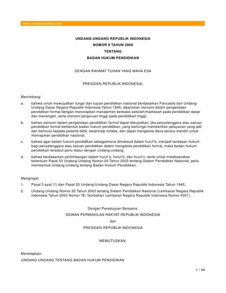 Uu No 9 2009 Badan Hukum Penddkan