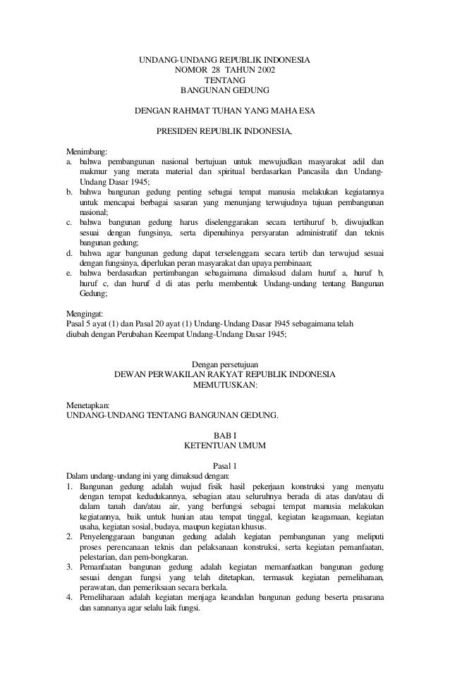 UNDANG-UNDANG REPUBLIK INDONESIA                          NOMOR 28 TAHUN 2002                               TENTANG       ...