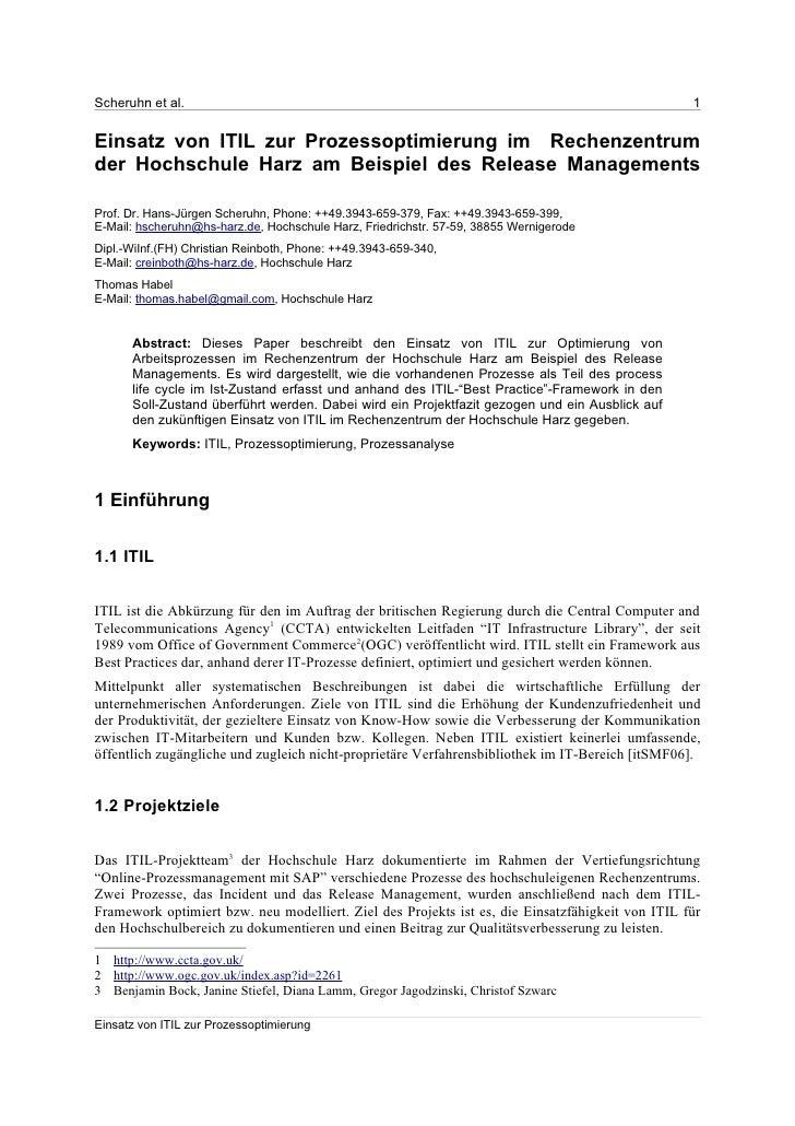 Scheruhn et al.                                                                                   1   Einsatz von ITIL zur...