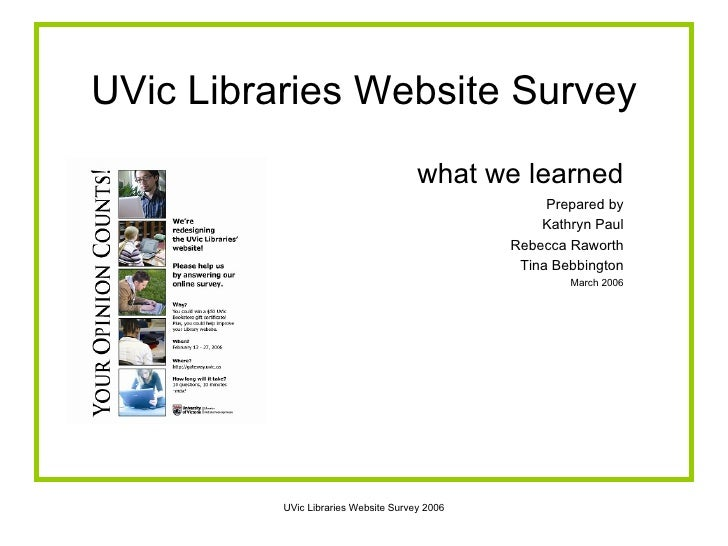 UVic Libraries Website Survey