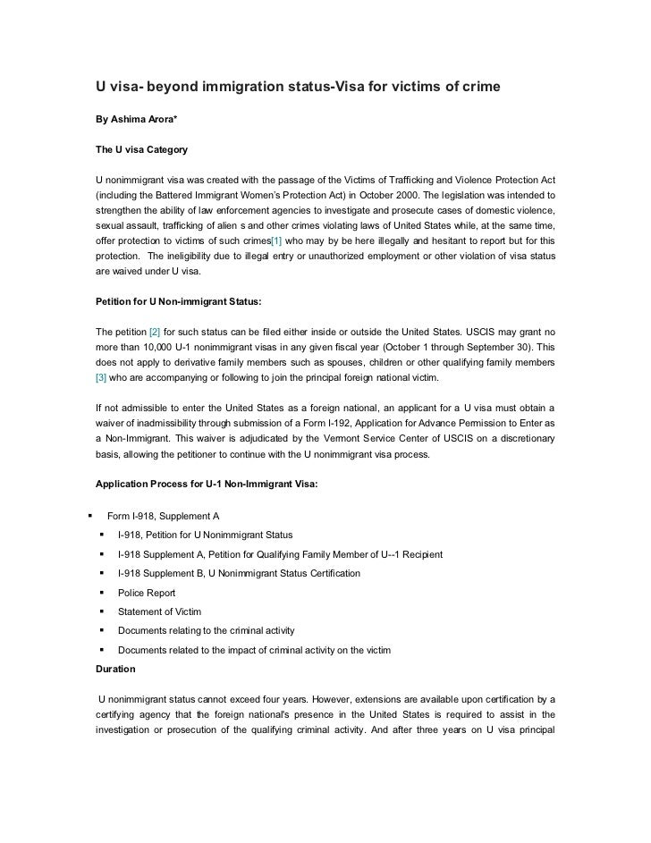 U visa- beyond immigration status-Visa for victims of crime    By Ashima Arora*    The U visa Category    U nonimmigrant v...