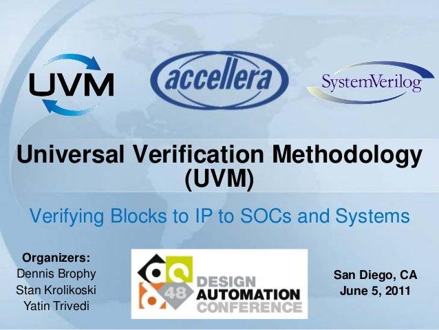 Universal Verification Methodology(UVM)Verifying Blocks to IP to SOCs and SystemsOrganizers:Dennis BrophyStan KrolikoskiYa...