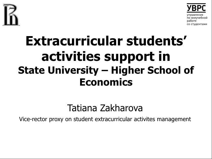 Extracurricular students'     activities support in State University – Higher School of             Economics             ...