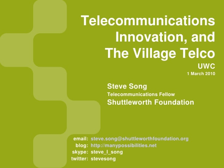 Telecommunications, Innovation, and the Village Telco