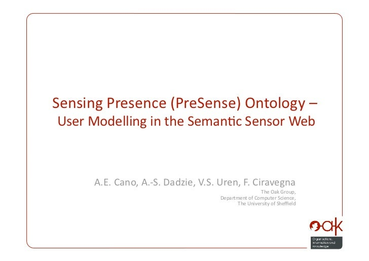 Sensing Presence (PreSense) Ontology - User Modelling in the Semantic Sensor Web