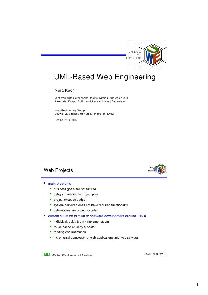 UML-Based Web Engineering      Nora Koch      joint work with Gefei Zhang, Martin Wirsing, Andreas Kraus,      Alexander K...