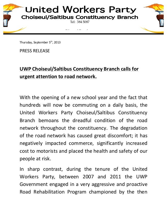 Uwp choiseul constituency branch calls for attention to road network