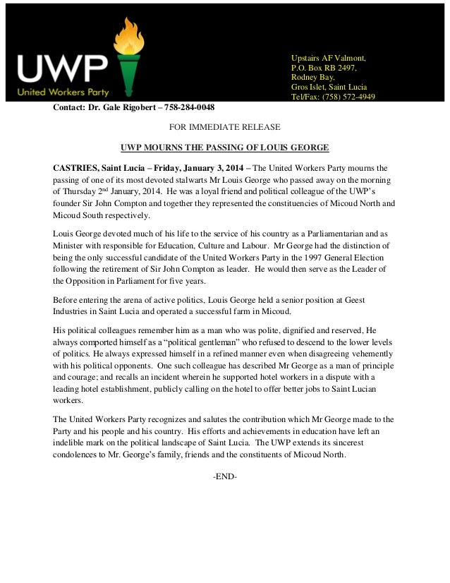 Uwp mourns the death of louis george