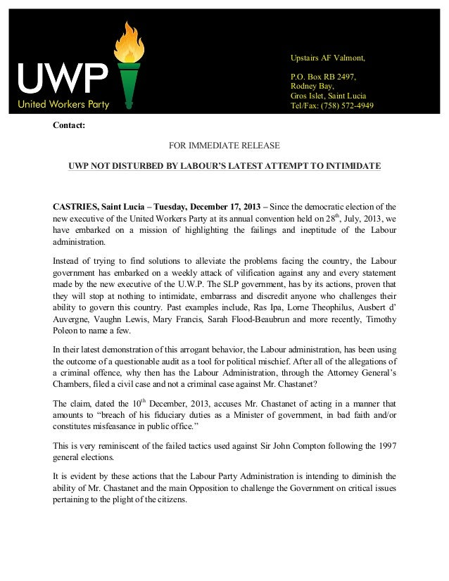 Uwp not disturbed by labour's latest attempt to intimidate