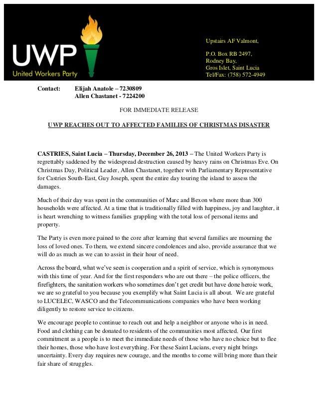 Uwp statement on aftermath of destructive weather
