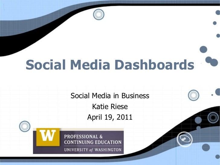 Social Media Dashboards Social Media in Business Katie Riese April 19, 2011