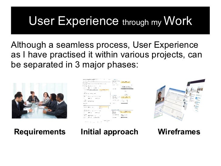 User Experience through my WorkAlthough a seamless process, User Experienceas I have practised it within various projects,...