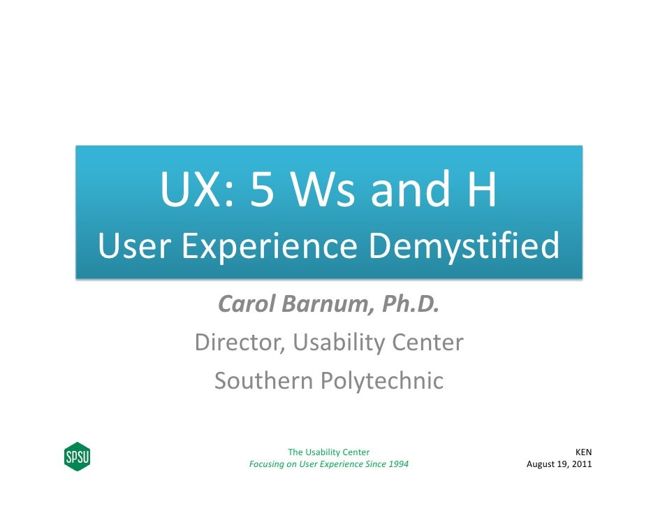 UX 5 Ws and H: User Experience Demystified