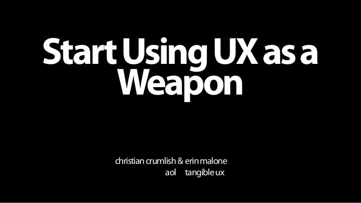 Start Using UX as a                                Weapon                                                     christian cr...