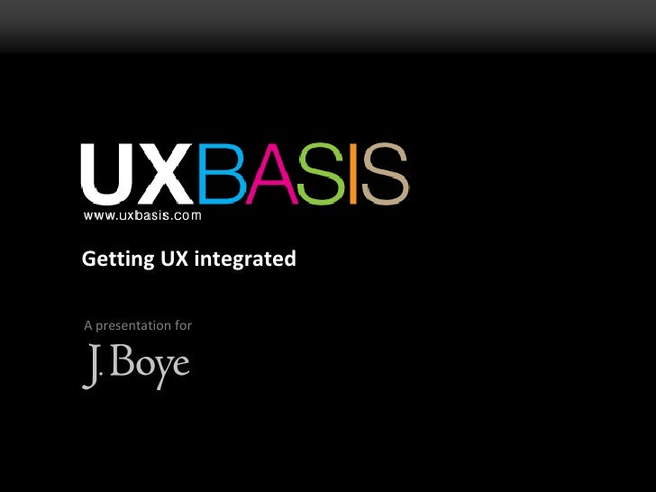 Getting UX integrated<br />A presentation for<br />