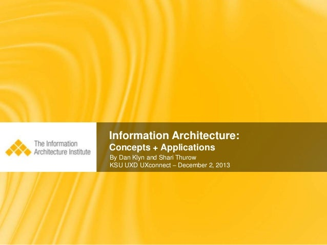 Information Architecture: Concepts + Applications By Dan Klyn and Shari Thurow KSU UXD UXconnect – December 2, 2013