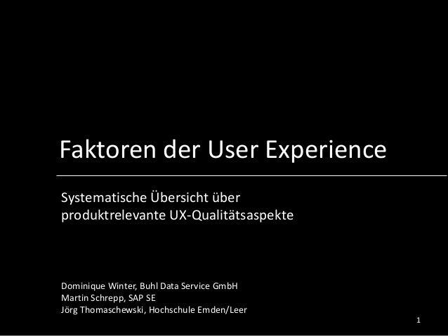 Faktoren der User Experience Systematische Übersicht über produktrelevante UX-Qualitätsaspekte Dominique Winter, Buhl Data...