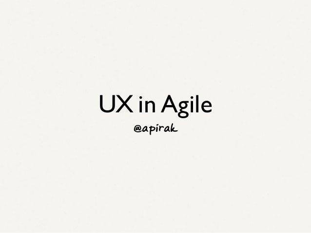 UX in Agile, Agile Thailand 2013