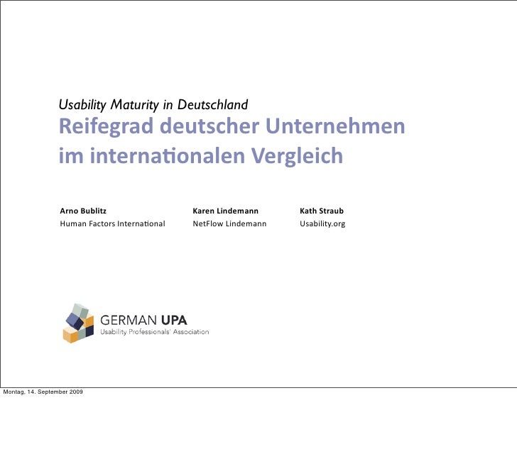 Usability Maturity in Germany
