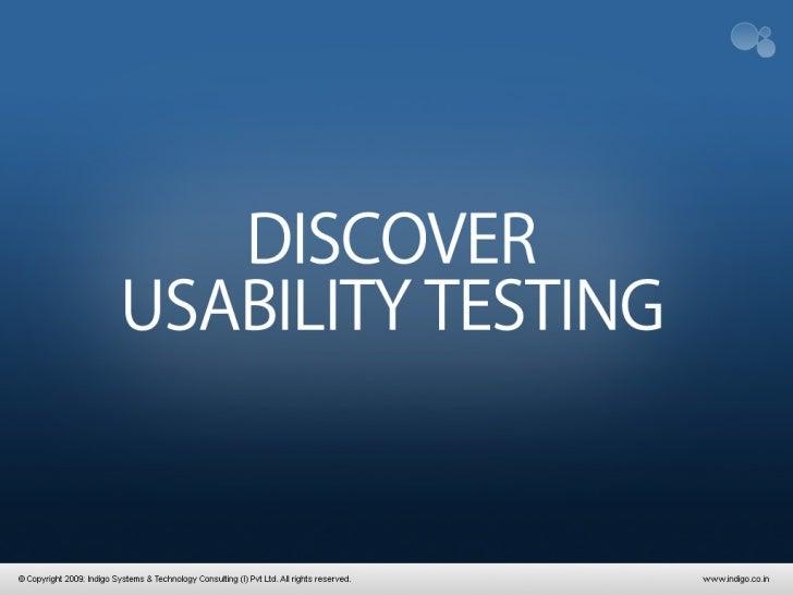 Usability Testing - a Primer
