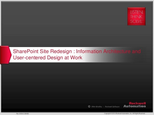 Copyright © 2013 Rockwell Automation, Inc. All Rights Reserved.Rev 5058-CO900D SharePoint Site Redesign : Information Arch...