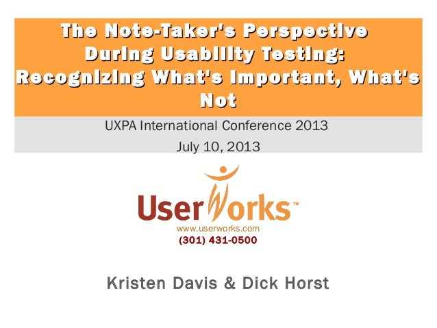 The Note-Taker's Perspective During Usability Testing: Recognizing What's Important, What's Not
