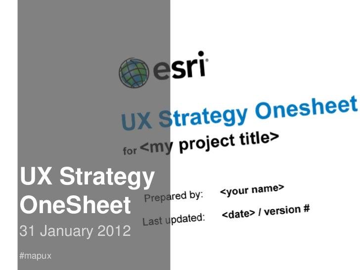UX Strategy OneSheet