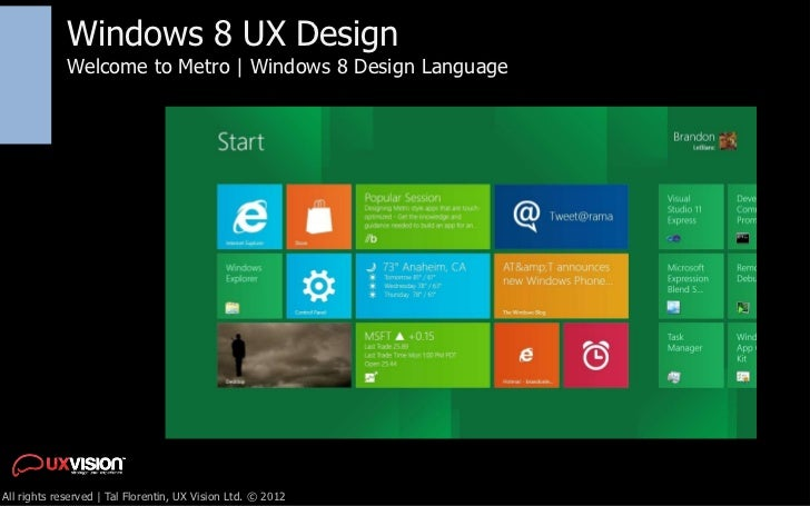 Windows 8 UX Design             Welcome to Metro | Windows 8 Design LanguageAll rights reserved | Tal Florentin, UX Vision...