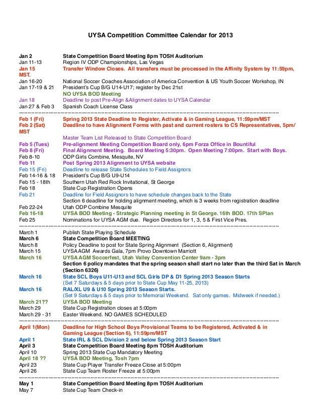 Uysa calendar 2013