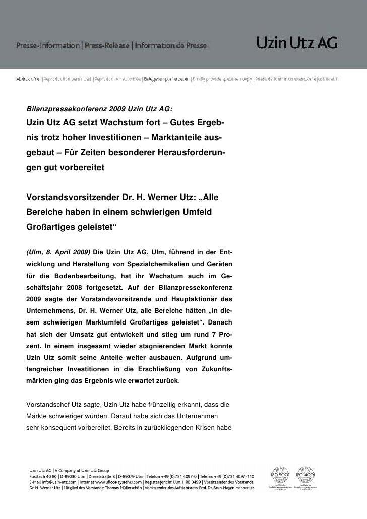 Bilanzpressekonferenz 2009 Uzin Utz AG:Uzin Utz AG setzt Wachstum fort – Gutes Ergeb-nis trotz hoher Investitionen – Markt...