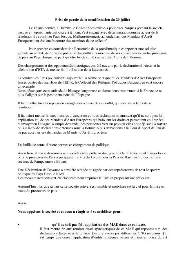 Prise de parole de la manifestation du 20 juillet Le 15 juin dernier, à Biarritz, le Collectif des exilé-e-s politiques ba...