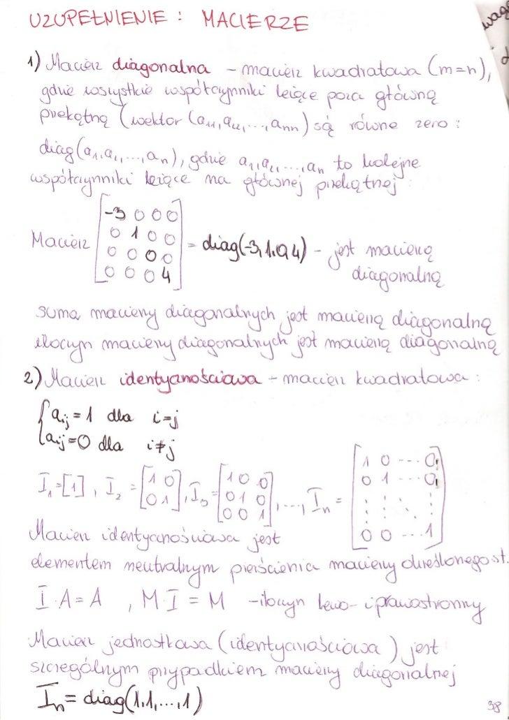 Algebra - macierz diagonalna i identycznosciowa