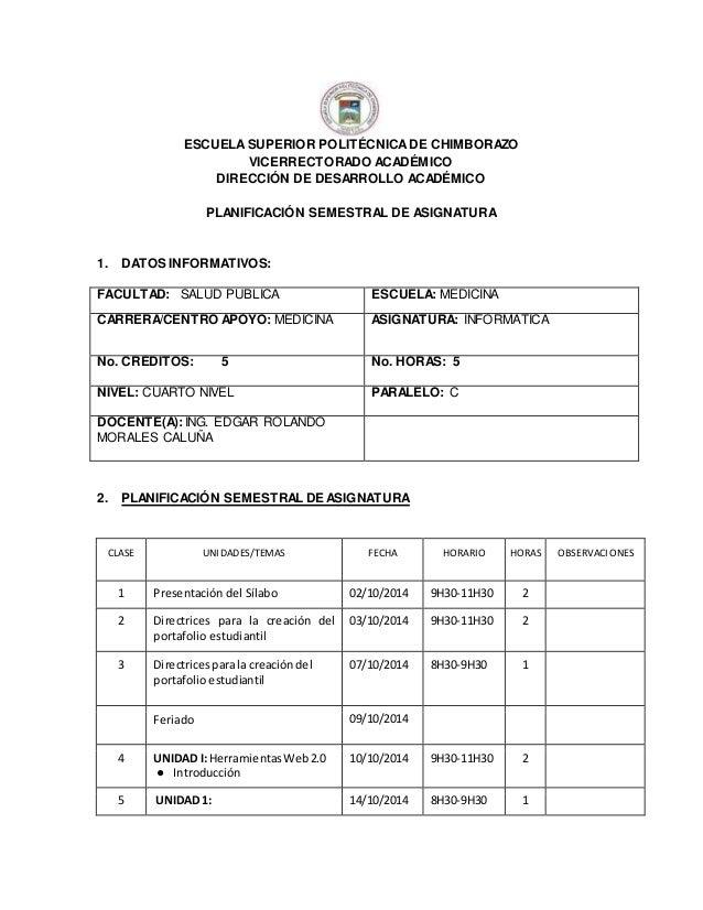 ESCUELA SUPERIOR POLITÉCNICA DE CHIMBORAZO  VICERRECTORADO ACADÉMICO  DIRECCIÓN DE DESARROLLO ACADÉMICO  PLANIFICACIÓN SEM...