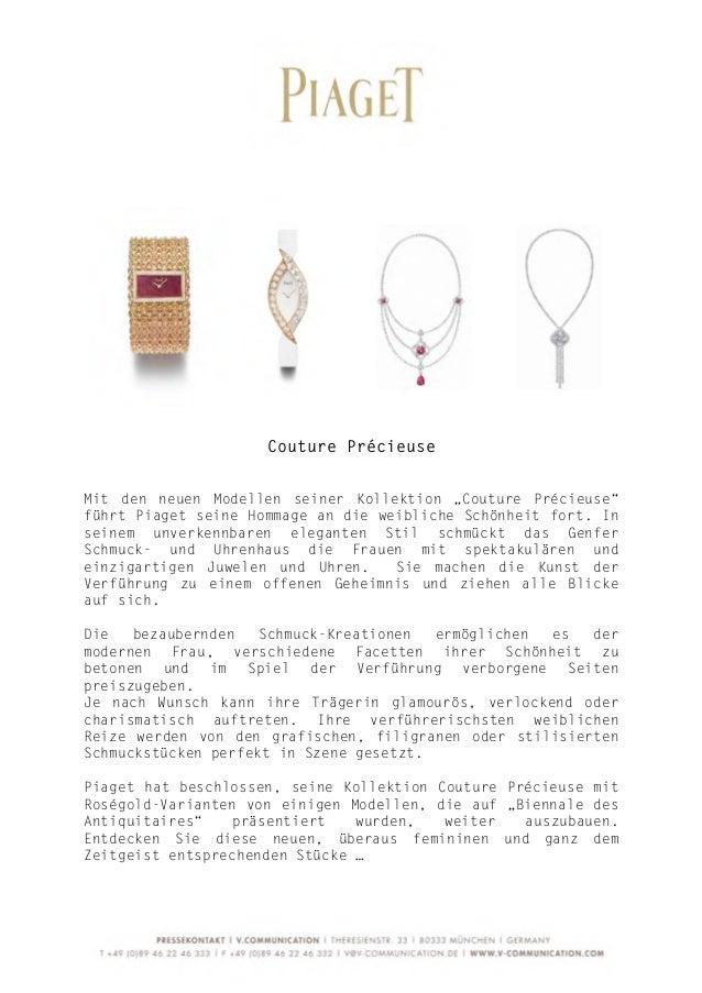 """Couture PrécieuseMit den neuen Modellen seiner Kollektion """"Couture Précieuse""""führt Piaget seine Homm..."""