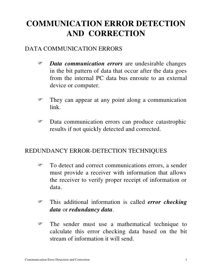 COMMUNICATION ERROR DETECTION       AND CORRECTION DATA COMMUNICATION ERRORS          F       Data communication errors ar...