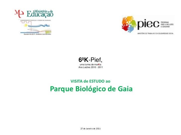 6ºK-Pief,<br />uma turma de marKa<br /> Ano Lectivo 2010 - 2011 <br />VISITA de ESTUDO ao<br /> Parque Biológico de Gaia<b...
