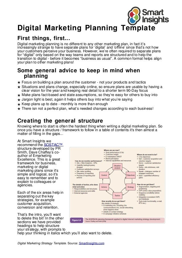 Mẫu kế hoạch Digital Marketing (bản tiếng anh)