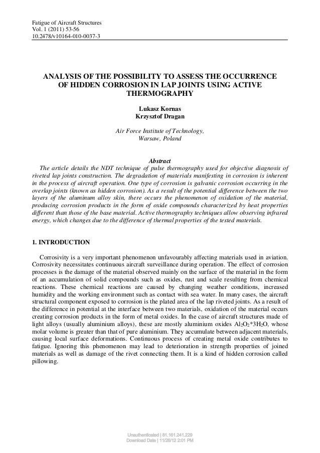 Fatigue of Aircraft StructuresVol. 1 (2011) 53-5610.2478/v10164-010-0037-3    ANALYSIS OF THE POSSIBILITY TO ASSESS THE OC...
