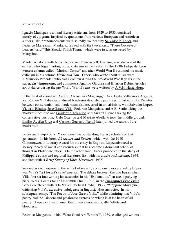 Essays of salvador p. lopez