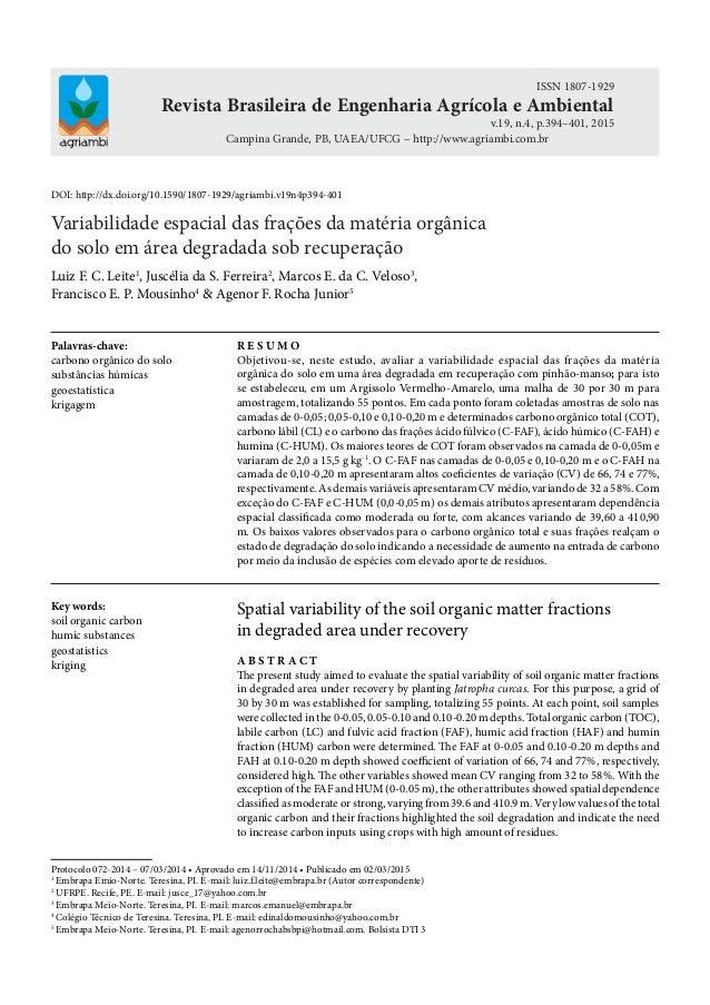 Revista Brasileira de Engenharia Agrícola e Ambiental Campina Grande, PB, UAEA/UFCG – http://www.agriambi.com.br ISSN 1807...