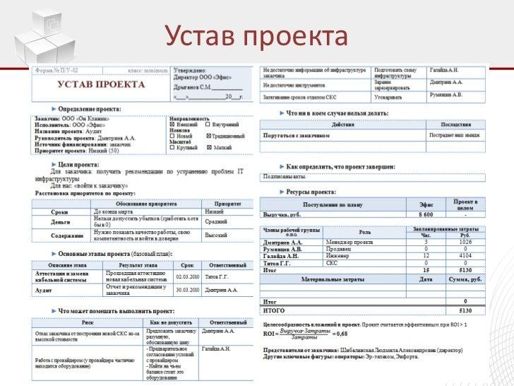 устав проекта образец