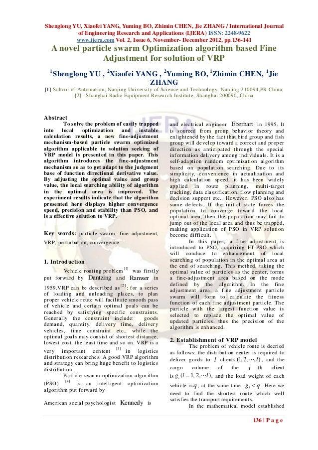 Shenglong YU, Xiaofei YANG, Yuming BO, Zhimin CHEN, Jie ZHANG / International Journal           of Engineering Research an...