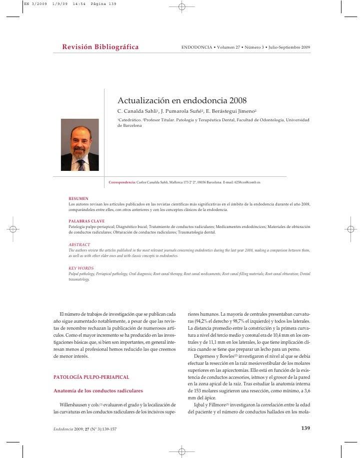 Revisión Bibliográfica                                                        ENDODONCIA • Volumen 27 • Número 3 • Julio-S...