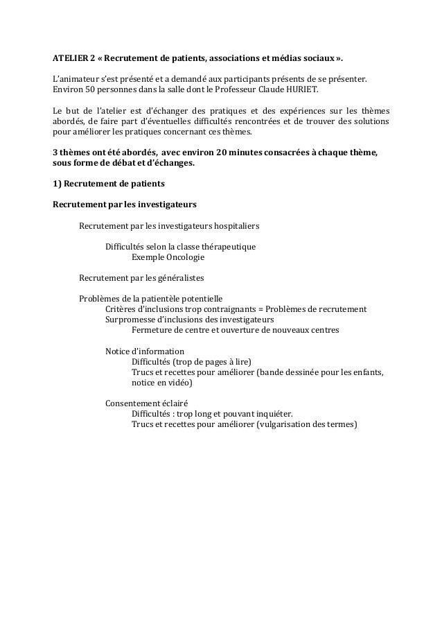 ATELIER  2  «  Recrutement  de  patients,  associations  et  médias  sociaux  ».      L'animateur...